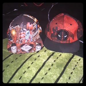 2 (Brand New) Deadpool Black/Red Snapback Hats